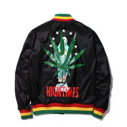 HIGH TIMES × WACKO MARIA RASTA STRIPED RIB VIRSITY JACKET
