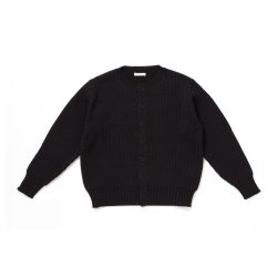 TWEEDY YARN BUTTONED CREW-NECK SWEATER