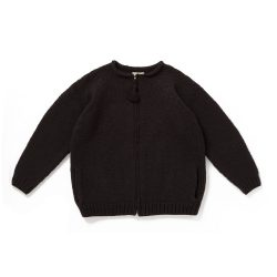 ZIP UP CREW-NECK SWEATER