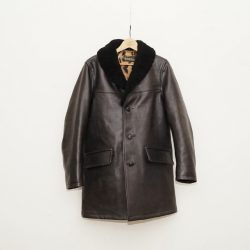 MOUTON COLLAR LEATHER GANG COAT
