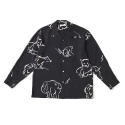ORIGINAL PRINTED OPEN COLLAR SHIRTS(-DRAWING-long sleeve)