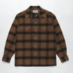 OMBRAY CHECK OPEN COLLAR SHIRTS L/S (TYPE-1)
