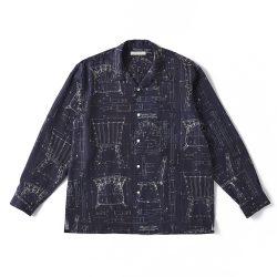 ORIGINAL PRINTED OPEN COLLAR SHIRTS (BLUE PRINT) Long-sleeve