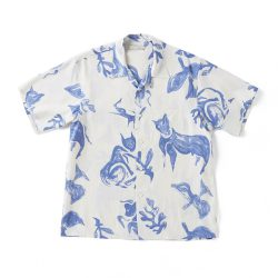 ORIGINAL PRINTED OPEN COLLAR SHIRTS (DRAWING) Short-sleeve