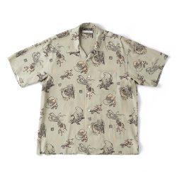 ORIGINAL PRINTED OPEN COLLAR SHIRTS (YOUKAI) Short-sleeve
