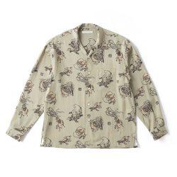 ORIGINAL PRINTED OPEN COLLAR SHIRTS (YOUKAI) Long-sleeve